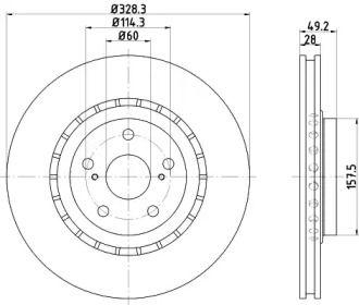 Перфорированный тормозной диск на TOYOTA HIGHLANDER 'TEXTAR 92259403'.