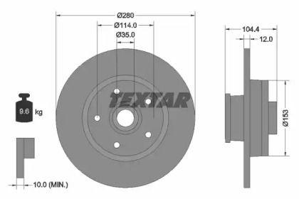 Тормозной диск на Ниссан Нв300 'TEXTAR 92268903'.