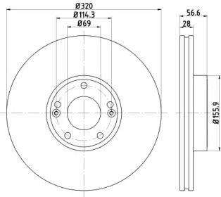 Вентилируемый тормозной диск на HYUNDAI GENESIS 'TEXTAR 92272803'.