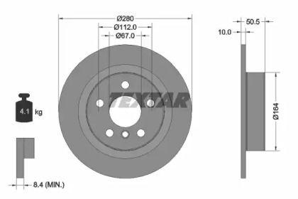 Тормозной диск на BMW I3 'TEXTAR 92274603'.