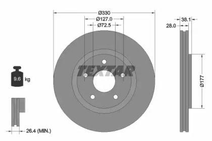 Вентилируемый тормозной диск на Фольксваген Роутан 'TEXTAR 92278903'.