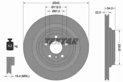 Вентилируемый тормозной диск на Мерседес Глс 'TEXTAR 92284003'.