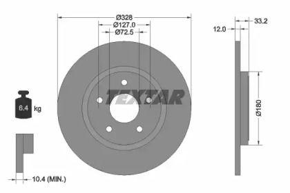 Тормозной диск на LANCIA VOYAGER 'TEXTAR 92286003'.