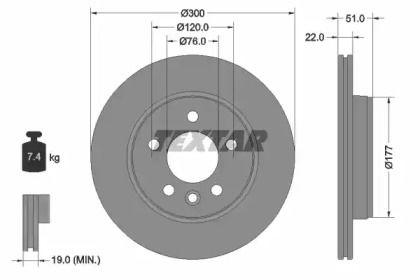 Перфорированный тормозной диск на VOLKSWAGEN AMAROK 'TEXTAR 92288503'.