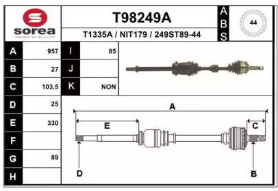 Полуось EAI T98249A.