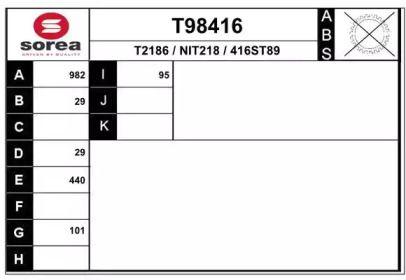 Полуось EAI T98416.