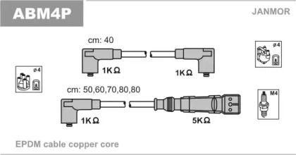 Высоковольтные провода зажигания 'JANMOR ABM4P'.