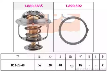 Термостат, охолоджуюча рідина на MAZDA PREMACY 'EPS 1.880.383'.