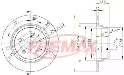 Задний тормозной диск на MERCEDES-BENZ CLS 'FREMAX BD-0413'.