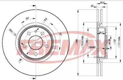 Вентилируемый передний тормозной диск на Лянча Тема 'FREMAX BD-1548'.