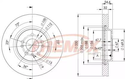 Вентилируемый передний тормозной диск на MERCEDES-BENZ R-CLASS 'FREMAX BD-3507'.