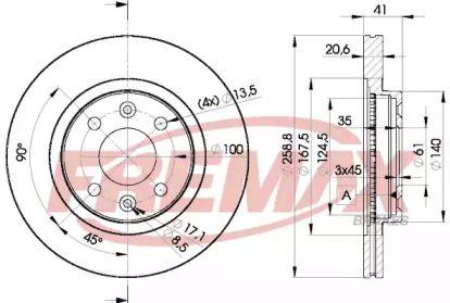 Вентилируемый передний тормозной диск 'FREMAX BD-3550'.