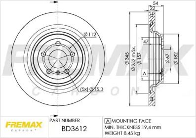Вентилируемый задний тормозной диск на MERCEDES-BENZ GLS 'FREMAX BD-3612'.