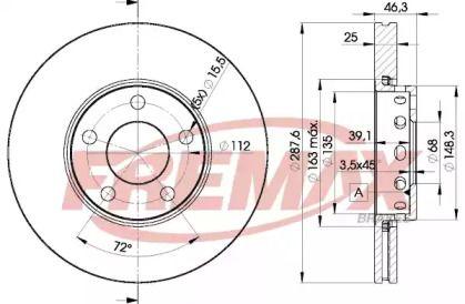 Вентилируемый тормозной диск на AUDI 200 'FREMAX BD-4063'.