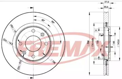 Вентилируемый передний тормозной диск 'FREMAX BD-4697'.