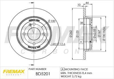 Задний тормозной диск 'FREMAX BD-5201'.