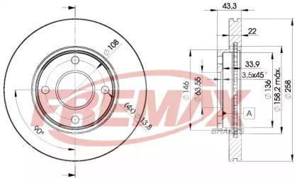 Вентилируемый передний тормозной диск на FORD FUSION 'FREMAX BD-5344'.