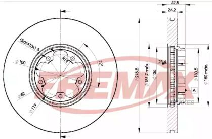 Вентилируемый передний тормозной диск на FORD F-250 'FREMAX BD-5612'.