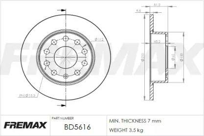 Задний тормозной диск 'FREMAX BD-5616'.
