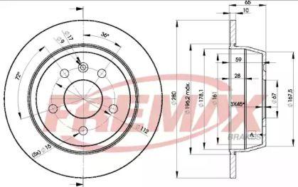 Задний тормозной диск на MERCEDES-BENZ V-CLASS 'FREMAX BD-6381'.