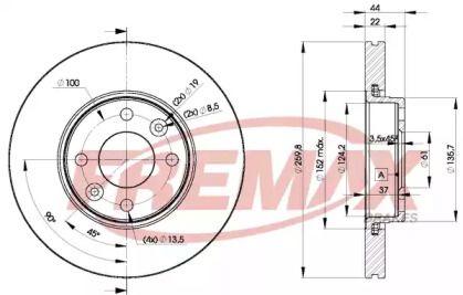 Вентилируемый передний тормозной диск на Ниссан Ноут 'FREMAX BD-7795'.