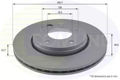 Вентилируемый задний тормозной диск на Фольксваген Мультивен 'COMLINE ADC1453V'.