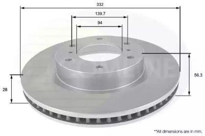Вентилируемый передний тормозной диск COMLINE ADC0379V.