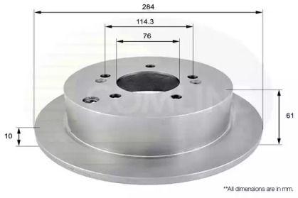 Задний тормозной диск на HYUNDAI IX35 'COMLINE ADC1036'.