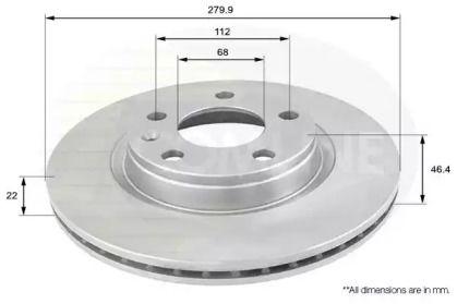 Вентилируемый передний тормозной диск на Фольксваген Фаетон 'COMLINE ADC1412V'.