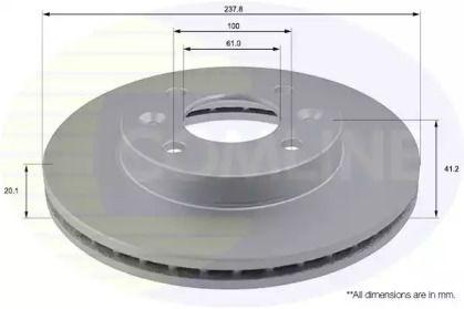 Вентилируемый передний тормозной диск 'COMLINE ADC1505V'.