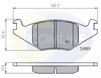 Передние тормозные колодки на Сеат Толедо COMLINE CBP0136.
