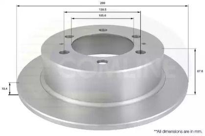 Задний тормозной диск на SSANGYONG MUSSO 'COMLINE ADC1016'.
