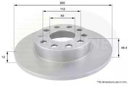 Задний тормозной диск на Фольксваген Тауран 'COMLINE ADC1448'.