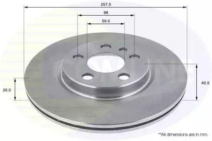 Вентилируемый передний тормозной диск на Пежо Експерт 'COMLINE ADC1513V'.