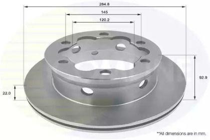 Вентилируемый задний тормозной диск на MERCEDES-BENZ VARIO 'COMLINE ADC1614V'.