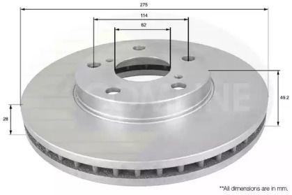 Вентилируемый передний тормозной диск на Тайота Авалон 'COMLINE ADC0145V'.
