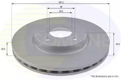 Вентилируемый передний тормозной диск на PEUGEOT BIPPER 'COMLINE ADC1808V'.