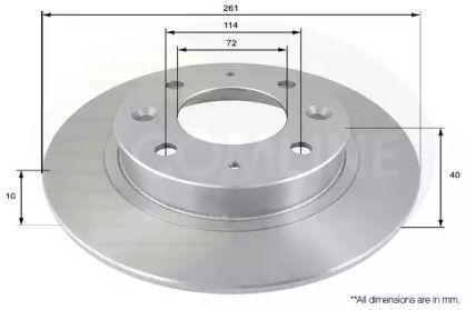Задний тормозной диск на Киа Кларус 'COMLINE ADC1029'.