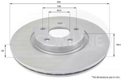 Вентилируемый передний тормозной диск на Форд Торнео Курьер 'COMLINE ADC1227V'.