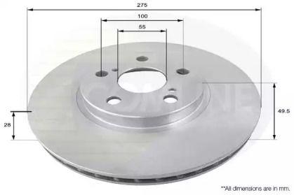 Вентилируемый передний тормозной диск на TOYOTA CORONA 'COMLINE ADC0154V'.