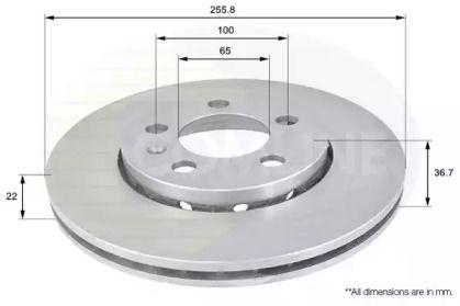Вентилируемый передний тормозной диск 'COMLINE ADC1407V'.