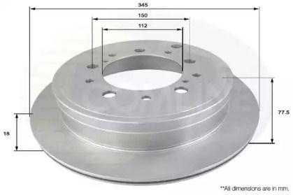 Вентилируемый задний тормозной диск на TOYOTA TUNDRA 'COMLINE ADC2502V'.