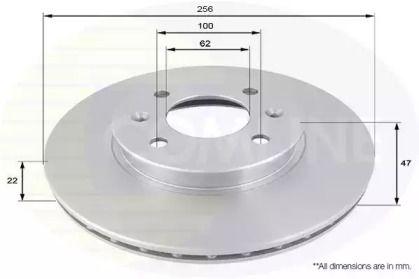 Вентилируемый передний тормозной диск на KIA RIO 'COMLINE ADC1077V'.