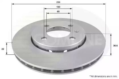 Вентилируемый передний тормозной диск на SKODA CITIGO 'COMLINE ADC2600V'.