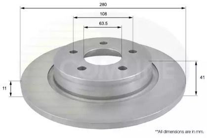 Задний тормозной диск на VOLVO V50 'COMLINE ADC1229'.