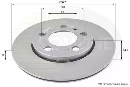 Вентилируемый передний тормозной диск 'COMLINE ADC1461V'.
