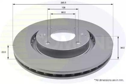 Вентилируемый передний тормозной диск на Ситроен ДС4 'COMLINE ADC1518V'.