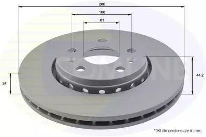 Вентилируемый передний тормозной диск на MERCEDES-BENZ CITAN 'COMLINE ADC1593V'.