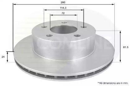 Вентилируемый передний тормозной диск на JEEP COMANCHE 'COMLINE ADC2302V'.