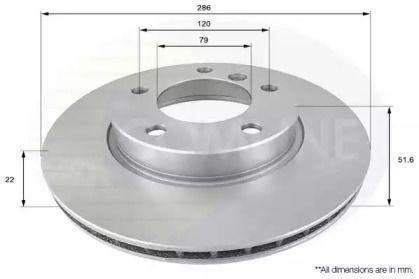 Вентилируемый передний тормозной диск на БМВ З3 'COMLINE ADC1702V'.
